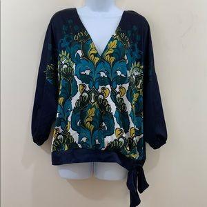 New York & Co. 7th Avenue V-Neck Floral Shirt Sz L